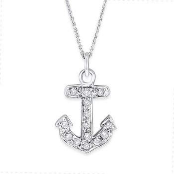 Diamond Small Anchor Necklace in 14K White Gold with 14 Diamonds Weighing .10ct tw.
