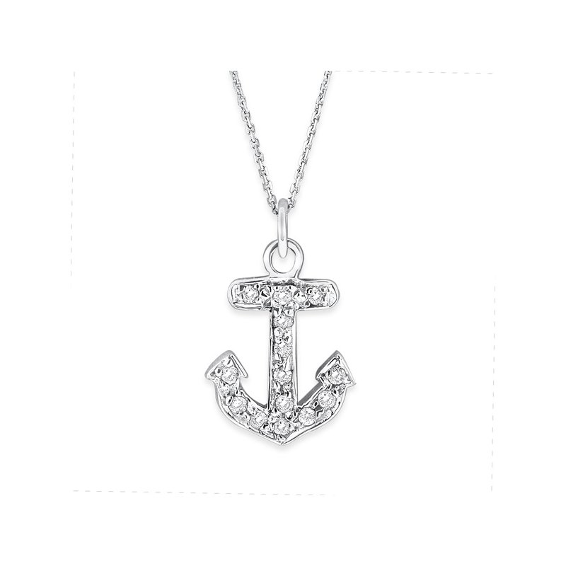 KC Designs Diamond Small Anchor Necklace in 14K White Gold with 14 Diamonds Weighing .10ct tw.