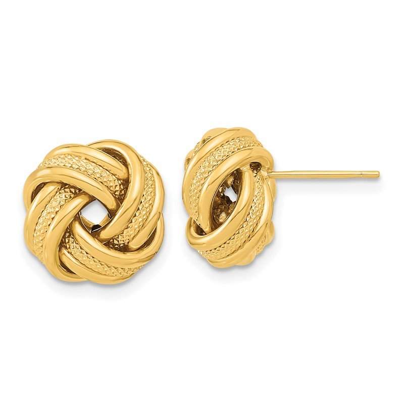 Quality Gold 14k Polished Textured Triple Love Knot Post Earrings