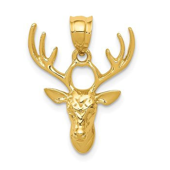14k Polished Deer Head Pendant
