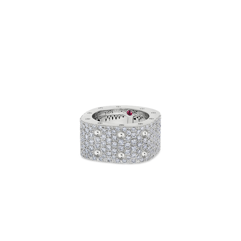 Roberto Coin 2 Row Square Ring With Diamonds &Ndash; 18K White Gold, 7.5