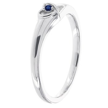 Sterling Silver Round Sapphire Heart Promise Ring