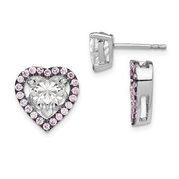 Sterling Silver Rhodium-plated 7mm Heart CZ Earrings & Pink Heart Jackets
