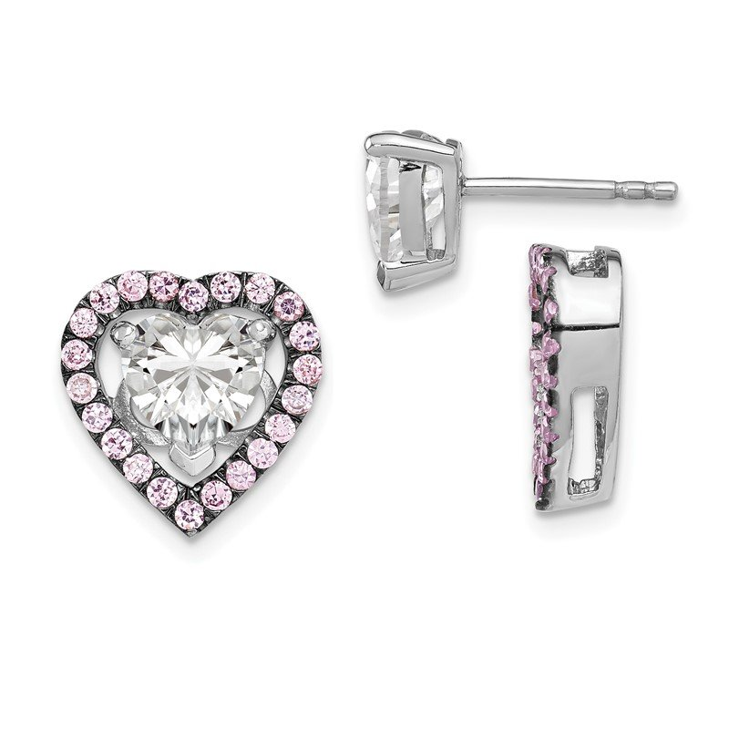 Quality Gold Sterling Silver Rhodium-plated 7mm Heart CZ Earrings & Pink Heart Jackets