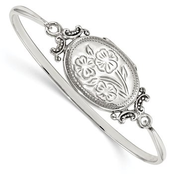 Sterling Silver Floral 26mm Oval Locket Bangle Bracelet