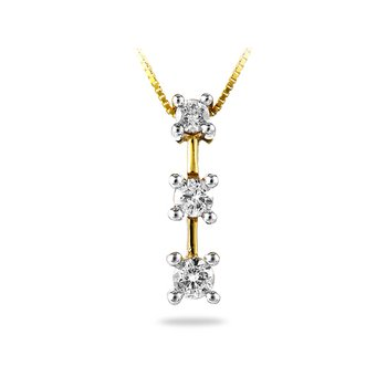 14K YG Diamond 3-Stone 'I Forever Do' Pendant