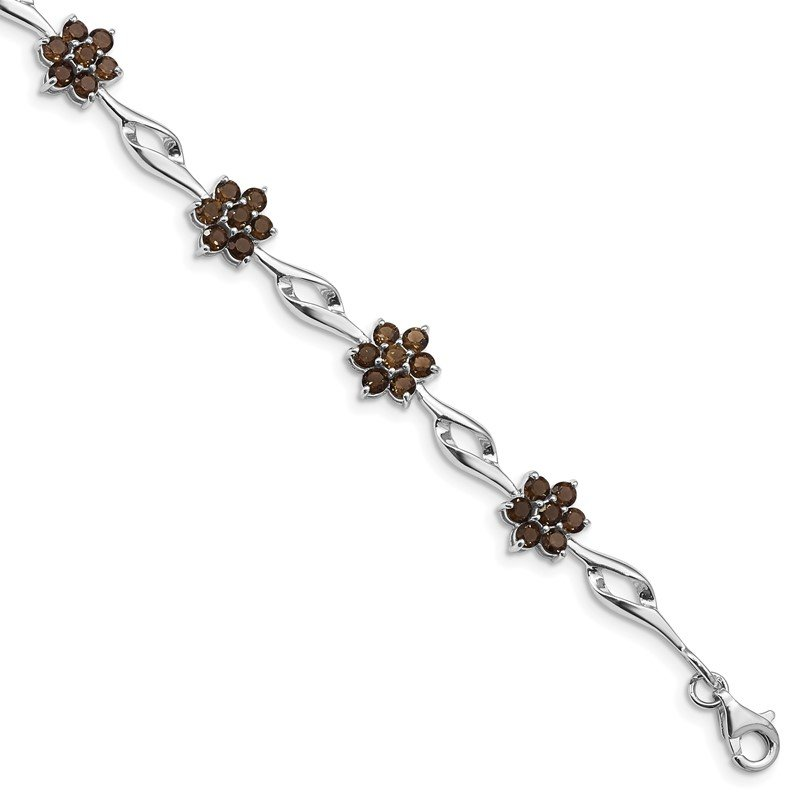 Quality Gold Sterling Silver Rhodium-plated Smoky Quartz Bracelet