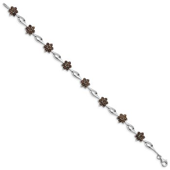 Sterling Silver Rhodium-plated Smoky Quartz Bracelet