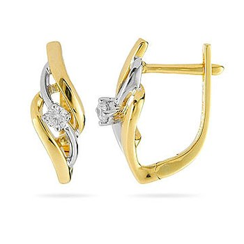 14K YW Diamond Fashion Earring