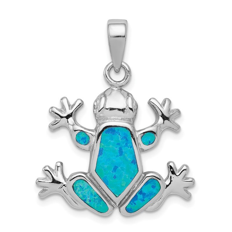 Quality Gold Sterling Silver Blue Inlay Created Opal FrogPendant