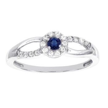 10k White Gold Sapphire and 1/5ct TDW Diamond Baby Halo Promise Ring