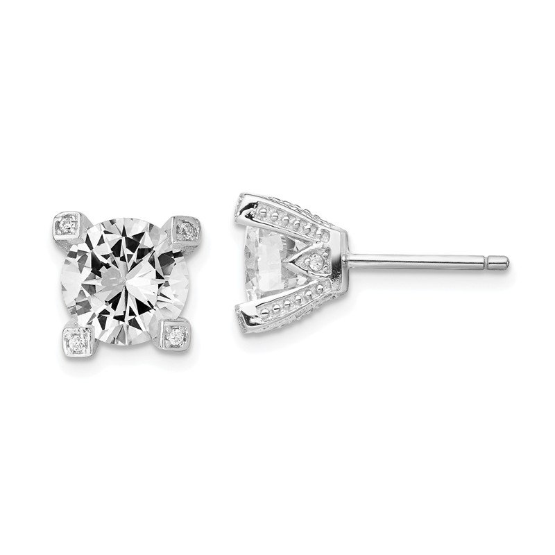 Cheryl M Cheryl M Sterling Silver 8mm CZ Stud Earrings
