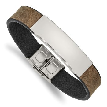 Stainless Steel Polished Brown/Black Leather 8.25in ID Bracelet
