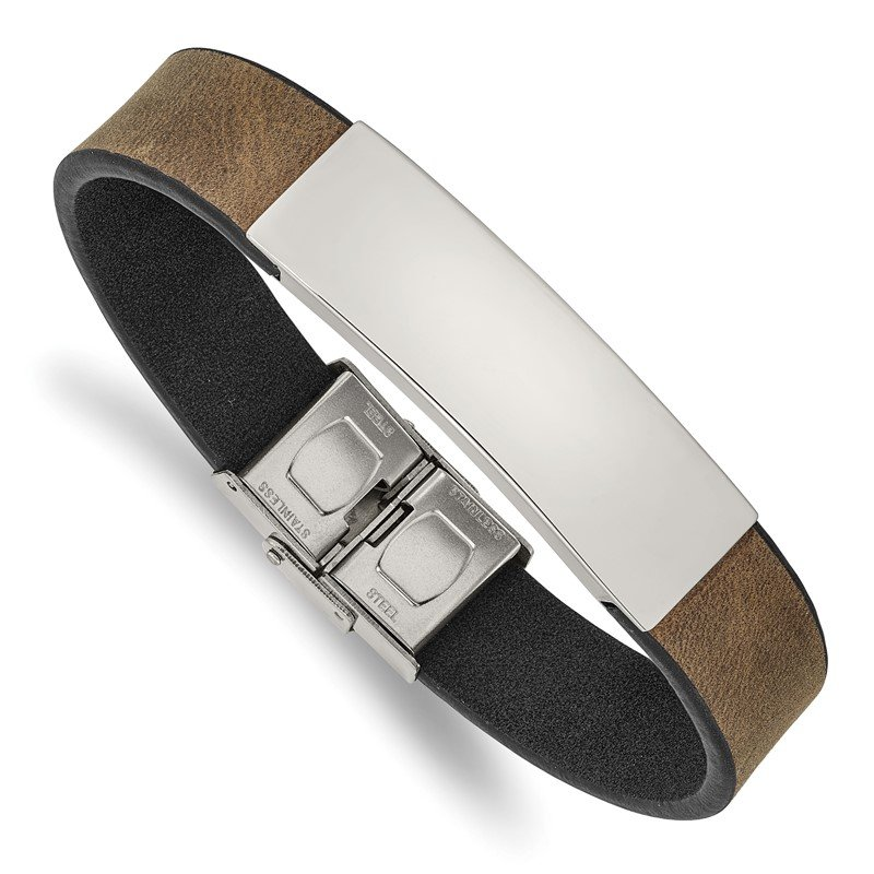 Chisel Stainless Steel Polished Brown/Black Leather 8.25in ID Bracelet
