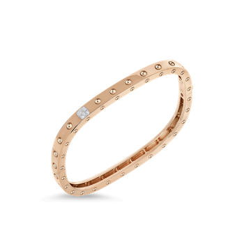 1 Row Square Bangle With Diamonds &Ndash; 18K Rose Gold, S