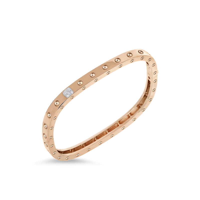 Roberto Coin 1 Row Square Bangle With Diamonds &Ndash; 18K Rose Gold, S