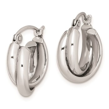 Sterling Silver Rhodium Plated Double Hoop Earrings