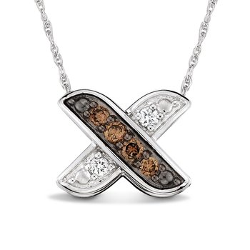 Pave set Cognac and White Diamond X Pendant, 10k White Gold  (1/6 ct. dtw.)