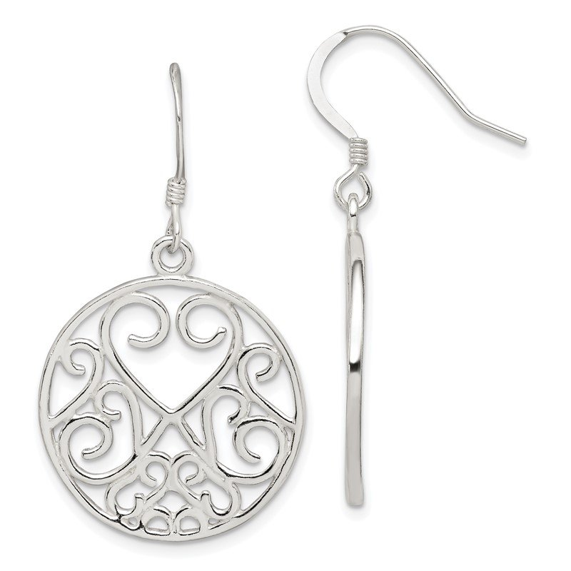 Quality Gold Sterling Silver Heart Filigree Earrings