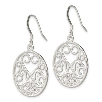 Sterling Silver Heart Filigree Earrings