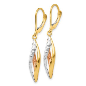 14K Two-tone with White Rhodium Diamond-cut Leverback Earrings