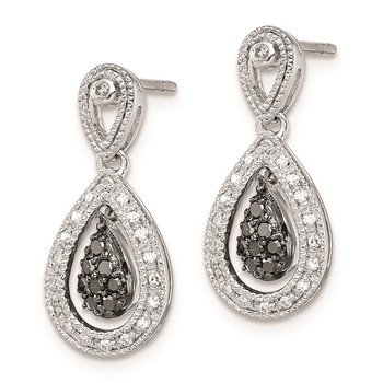 Sterling Silver Rhodium Plated Black & White Diamond Earrings