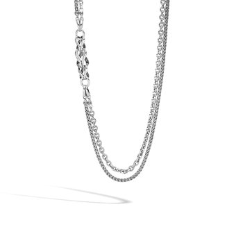 Asli Classic Chain Link Station Necklace in Silver