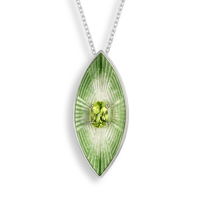 Nicole Barr Designs Green Marquise Necklace.Sterling Silver-Peridot