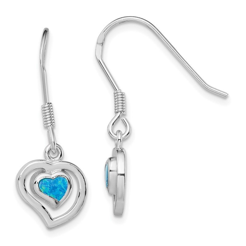 Quality Gold Sterling Silver Created Blue Opal Inlay Center Heart Dangle Earrings