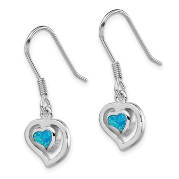Sterling Silver Created Blue Opal Inlay Center Heart Dangle Earrings