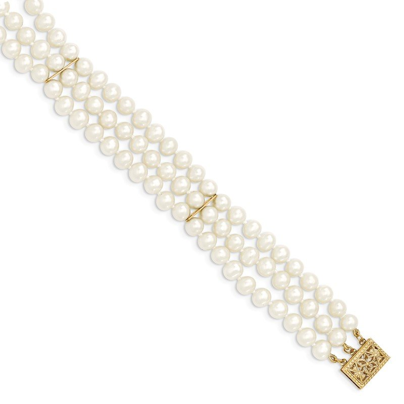 Quality Gold 14k 5-6mm White Near Round FW Cultured Pearl 3-strand Bracelet