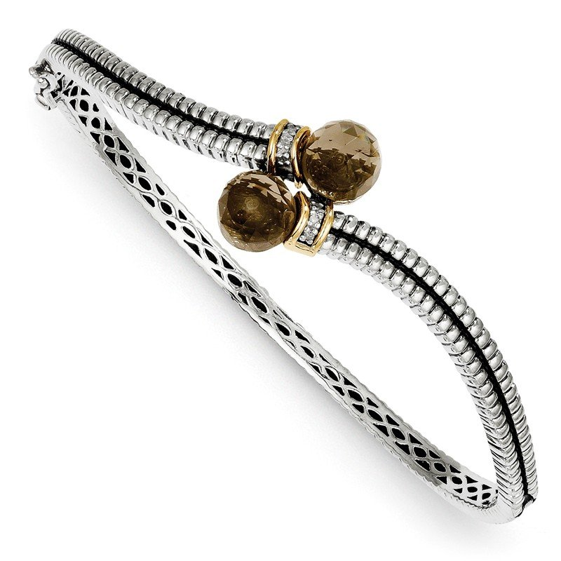 Shey Couture Sterling Silver w/14k Smoky Quartz & Diamond Bangle Bracelet