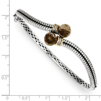 Sterling Silver w/14k Smoky Quartz & Diamond Bangle Bracelet