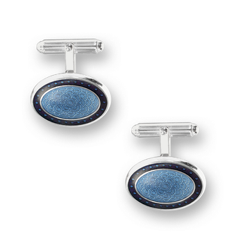 Sterling Silver T-Bar Cufflinks-Blue.