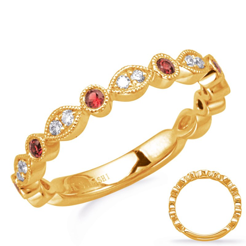 Briana Yellow Gold Ruby & Diamond Ring