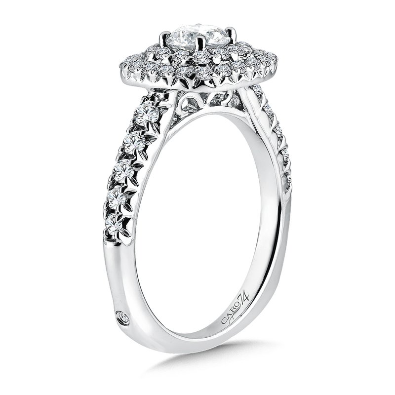 Caro74 Luxury Collection Double Halo Engagement Ring in 14K White Gold (1/2ct. tw.)