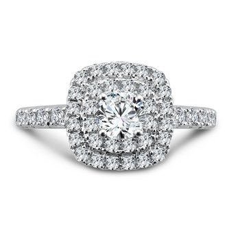 Luxury Collection Double Halo Engagement Ring in 14K White Gold (1/2ct. tw.)