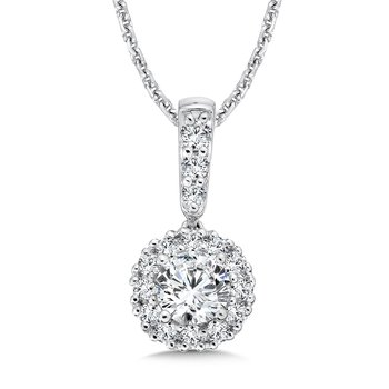 Diamond Round Halo Pendant with Diamond Bale in 14K White Gold (1/2 ct. tw.)