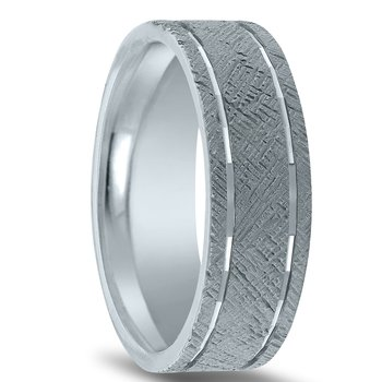 N17216 - Men's Wedding Band with Organic Finish