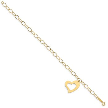 14K Oval Link Open Chain with Heart Bracelet