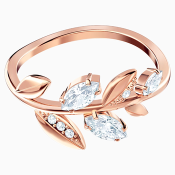 Mayfly Ring, White, Rose-gold tone plated