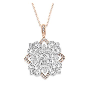 Diamond Lace Necklace in 14K White and Rose Gold with 100 Diamonds Weighing 1.00 ct tw