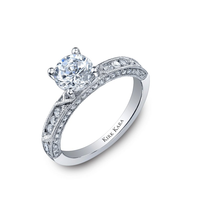 Kirk Kara 18K White Gold Milgrain Engagement Ring