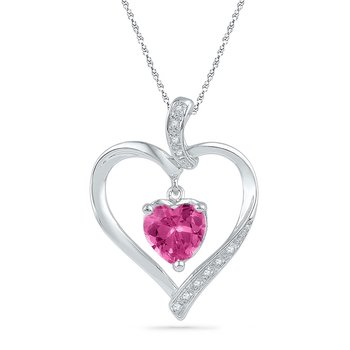 10kt White Gold Womens Round Lab-Created Pink Sapphire Heart Love Pendant 1-3/4 Cttw
