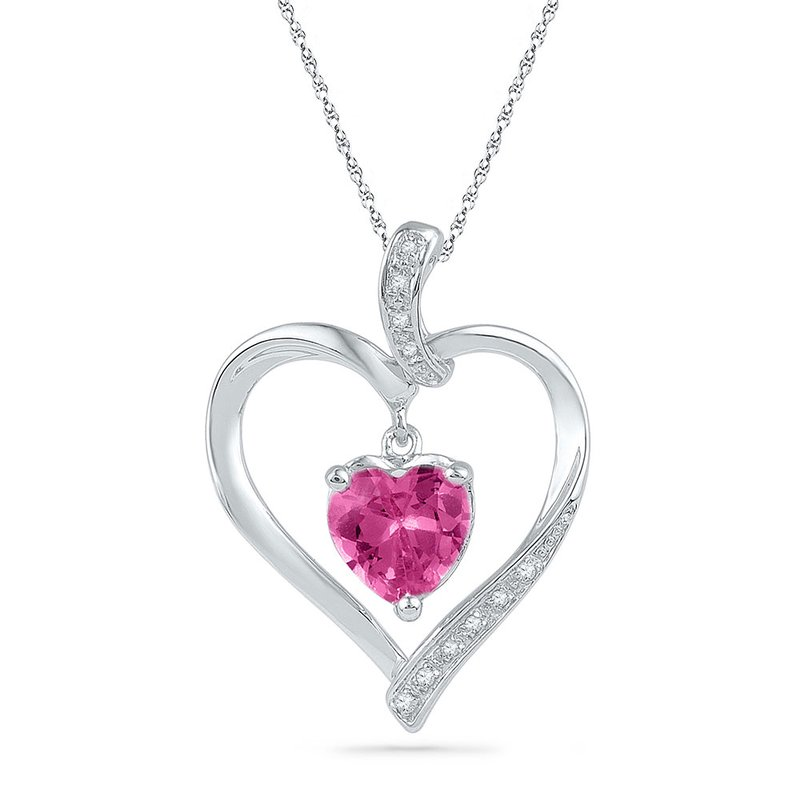 Gold-N-Diamonds 10kt White Gold Womens Round Lab-Created Pink Sapphire Heart Love Pendant 1-3/4 Cttw