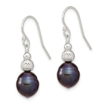 Sterling Silver 8-9mm Black Rice FWC Pearl Dangle Earrings