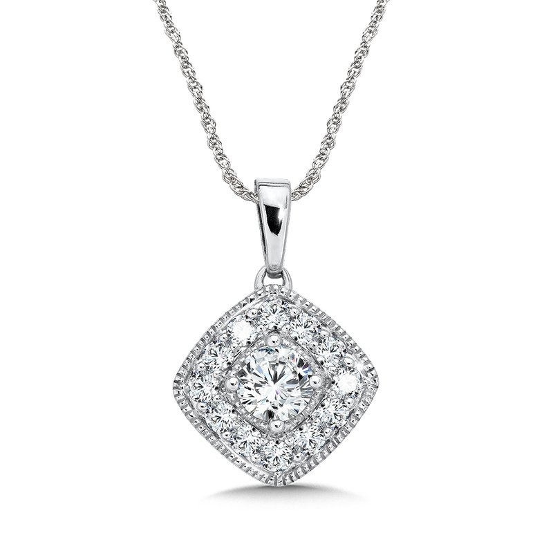 SDC Creations Pave set Diamond Cushion Shaped Halo Pendant, 14k White Gold  (3/4 ct. tw.) GH/SI1-SI2