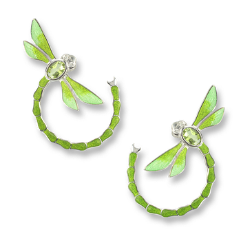 Sterling Silver Dragonfly Stud Earrings-Green. Diamonds and Peridot.