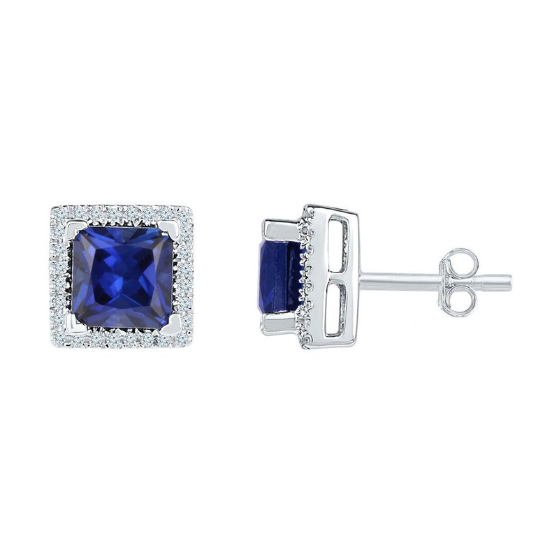 Kingdom Treasures 10kt White Gold Womens Princess Lab-Created Blue Sapphire Stud Earrings 2.00 Cttw
