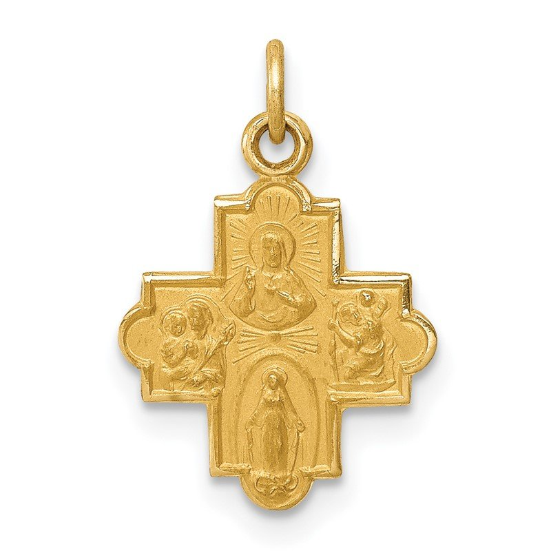 Quality Gold 14k Solid Satin Small 4-Way Medal